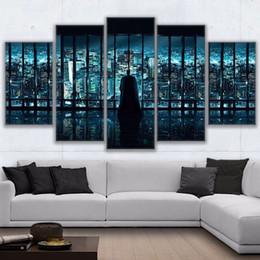 Wholesale batman sheets - 5 Pcs Set Canvas Paintings Home Decor Wall Art Frame Batman Overlooking City Landscape Posters HD Prints Pictures Painting