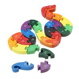 Wholesale English Learning Toy - Children Educational Toys Puzzle 26 English Alphanumeric Digital Learning Baby Kids Lovely Snake Puzzle Toy Gift