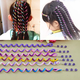 Wholesale Hair Band Braided Color - Headband 6pcs Kids Girls Diy Hair Styling Braiding Spiral Curlers Rollers Head Dress Band Flexible Bendable Hair Rollers Curlers