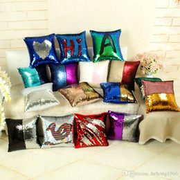 Wholesale patchwork cushion covers - Sequins Pillow Case Square Two Color Mermaid Throw Pillows Fashion Cushion Cover Home Decor Hot 10 8hm A R