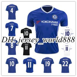Wholesale Chelsea Orange - New Arrived 2016 Chelsea soccer jersey 16 17 HAZARD home bule Away White 3rd Black PEDRO PATO ZOUMA DIEGO COSTA WILLIAN football shirts