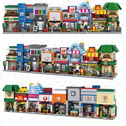 Wholesale Children Gifts Wholesale Shop - LOZ Mini Builidng Blocks Street Shop DIY Block Toys For Children Cute Micro Store coffee Model Kids Christmas Gifts Bricks 8pcs lot