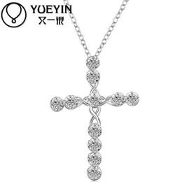 Wholesale Cross Necklace Pure 925 - Cross necklaces Romantic 925 Pure silver pendant gift Pouches Free Fashion New Jewelry Brincos de Prata