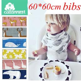 Wholesale muslin cloth baby - 60CM*60CM 24*24inch Aden Anais Swaddle Animal Cartoon Bibs Baby Cotton Muslin BathTowel Bamboo Anais Burp Cloths 9colors choose free