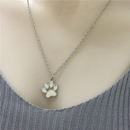 Wholesale Cute Animal Necklaces - 2017 New Cute Puppy Dog Paw Necklace Jewelry Alloy Pendant Necklaces Silver Plated Necklaces For Women