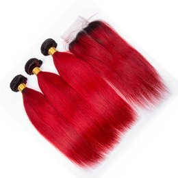 Grade vermelha do cabelo do ombre on-line-Grau 8A Cabelo Virgem Peruano Ombre 3 Pacotes com Fecho de Renda 2 Tom 1B Vermelho Raízes Escuras Ombre Cabelo Liso Tece com Fecho