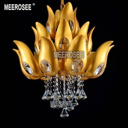 Wholesale Chandelier Floral Iron Crystal - Floral Design Gold Crystal Chandelier light   Lamp  lighting fixture Gold color Light for Lobby, Foyer, Staircase MD15170