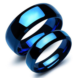 Wholesale Couples Blue Stainless Steel Rings - Blue Stainless Steel Lovers' Ring Classical Simple Smooth Design Women Men Finger Bands Jewelry Gift For Anniversary GJ479L
