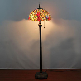 Wholesale Vintage Flower Lamp - Wholesale-Europe Floor Lamp Dining Room Bedroom Light Classical Vintage Floor Light Art Color Glass Flowers Floor Lamp Dia40cm