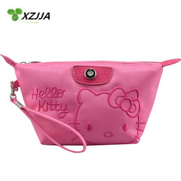 Wholesale Kawaii Wall - Wholesale- Hello Kitty Cosmetic Bag Zipper Makeup Case Travelling Wash Bag Portable Toiletry Bags Kawaii Cartoon Coin Purse Storage Bag