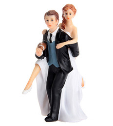 Wholesale Couple Gift Cake - Playful Football Couple Figurine Cake Topper Wedding Topper Wedding Gift Cake Topper Wedding Cake Decorations 2016 June Style