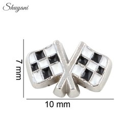 Wholesale Car Charms For Necklaces - Checkered Flags Race Car Charms for DIY Bracelet Silver Plated Charm for Living Glass Memory Locket Necklaces