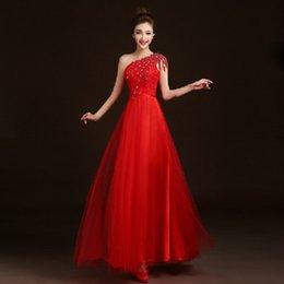 Wholesale Cheongsam Back - Elegant Red Long Evening Dresses Sloping Shoulder Tulle Lace Applique Beading Crystal Diamond Chinese Qiapo Cheongsam Dresses (YYF-015)