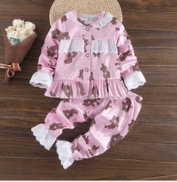 Wholesale Girls Pink Pajamas - Kids pajamas children cartoon bear pajamas girls sleepwear kids sleeping suit long sleeve clothes suit 3 Colors