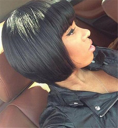 Wholesale Lace Front Wigs Chinese Bangs - 2015 human hair full lace wig short bob with full bangs brazilian hair bob lace wigs short hair for black women glueless
