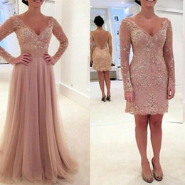 Wholesale detachable skirt long prom dress - Dusty Pink Two Pieces Prom Dresses Over Skirts V Neck Lace Appliques Beaded Long Sleeves Hollow Back Detachable Skirt Evening Gowns