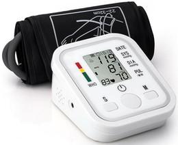 Wholesale Digital Upper Arm Sphygmomanometer - 30pcs DHL Digital Upper Arm Blood Pressure Pulse Monitors tonometer Portable health care bp Blood Pressure Monitor meters sphygmomanometer