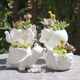 vasetti da giardino in ceramica all'ingrosso Sconti All'ingrosso-Libero piccolo animale in ceramica vaso di fiori in porcellana bianca super elefante lumaca tartaruga giardino Mini Pot desktop in ceramica pentola