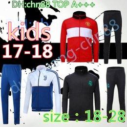 Wholesale Drawstring Top - thai top 2017 2018 Kids jackets sets Real madrid KIDS soccer LUKAKU POGBA tracksuit United 17 18 RONALDO KROOS DYBALA training man jackets