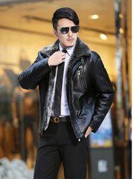Wholesale Leather Jackets Wool Lining - Men in the winter sheepskin leather clothing wool one-piece Berber fleece lining medium - long outerwear leahter jacket coat   m-5xl