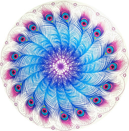Wholesale Peacock Wall Tapestry - round Bohemia Beach Shawl Chiffon indian mandala tapestry peacock Colored Printed Hanging wall Decor Religious Wall Carpet retail wholesale