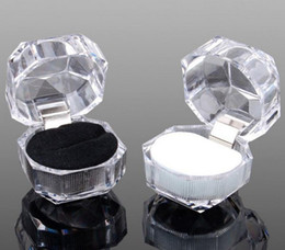 Wholesale Dust Plug Boxing - Free shipping 20pcs 3colors Rings Box Jewelry clear Acrylic jewellery Boxes wedding gift box ring stud dust plug box
