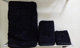 übung bambus handtuch Rabatt Handtuchset 3tlg. mit Logo 100% Baumwolle schwarz weiss grau