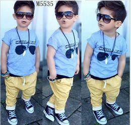 Wholesale Kids Shirts Glasses - 2016 New Baby Boys Cartoon Glasses Printed T-shirt Tops+Pants 2pcs Set Children Clothing Sets Fashion Boy Outfits Kids Summer Suit 80-120cm