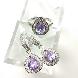 Wholesale purple cubic zirconia necklace - The new jewelry set for women's 925 stylish purple Earrings Ring Size 789 free jewelry boxes B