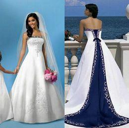 Wholesale Cheap Black Bandage Dress - Cheap White And Blue Wedding Dresses A Line Royal Satin Bandage Women Embroidery Vintage Beach Bridal Gown Custom Vestido