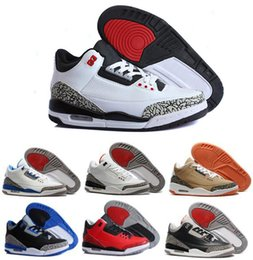 Wholesale Pink Rose Boots - 2016 air retro 3 III man basketball shoes wolf grey sport blue Black Cement White True Blue Dark Powder Blue Sport sneakers boots