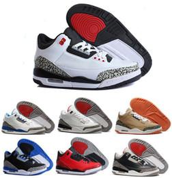Wholesale M Powder - 2016 air retro 3 III man basketball shoes wolf grey sport blue Black Cement White True Blue Dark Powder Blue Sport sneakers boots