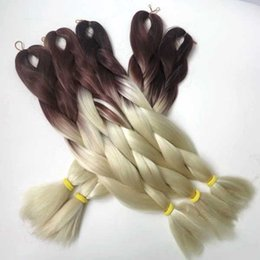 "Wholesale Harmony Boxes - Ombre color two tone jumbo braiding hair for box braids and crochect twist braids HARMONY WHOLESALE 1pack lot 24"" 100g"