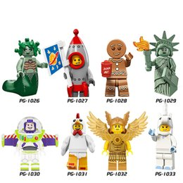 Wholesale Children Plastic Blocks - DIY Action Educational Minifigures Medusa Buzz Lightyear Rocket Boy Building Blocks Children Christmas Gift Toys 8pcs set PG8061