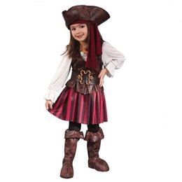 Wholesale Sexy Pirate Outfits - Baby Cosplay Sexy Spanish Pirate Halloween Costumes For Girls Pirate Costume Dress party Uniform Outfits kids clothing