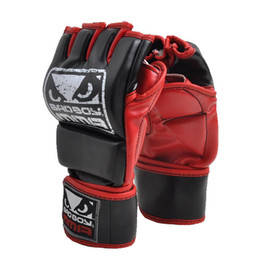 boxing gloves Promo Codes - Boxing Gloves Pu Mateial Mma Half Finger Fighting Gloves Muay Thai Training Competition Gloves Breathable Male Fitness For Adult