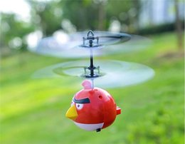 Wholesale Kids Mini Helicopters - Angry Birds Flying aircraft Mini flying toys Induction Bird Control Helicopters red green blue UFO Drone