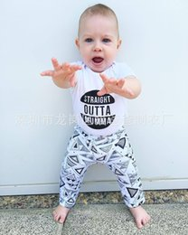 Wholesale Boys Pajamas 18 Months - NWT INS 2016 Baby Girls Boy cotton Outfits Pajamas Summer 2piece Sets Cotton rompers onesies diaper covers + Pants - Straight outta mumma