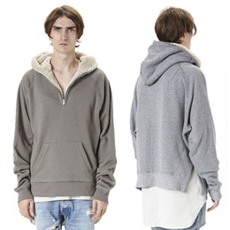 Wholesale Green Sherpa - Best Quality Fear Of God Half Zip Hoodie Men Women Winter Warm Sherpa Hoodies Hip Hop Oversized Pullover Cotton Sweatshirt SHG0901
