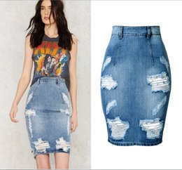 Wholesale Sexy Jeans Skirts - New Trend High Quality Denim Skirt Sexy Women High Waist Jeans Shorts Hole Package Hip Skirt