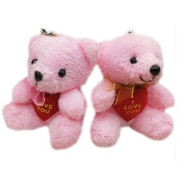 Wholesale Small Plush Teddy Bears - Wholesale 40pcs x 2.8inch(7cm) Plush Teddy Bears With LOVE HEART and scarf Small Doll House Craft Sitting Bear Pink