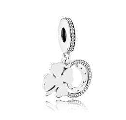 Wholesale Clover Leaf Necklace Jewelry - Fits Pandora Bracelets Four Leaf Clover Crystal Silver Charms Bead Dangle Charm Beads For Wholesale Diy European Sterling Necklace Jewelry