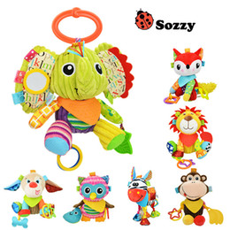 Wholesale Toy Baby Doll Strollers - Sozzy Baby Rattle Bell Baby Infant Crib Stroller Hanging Toy Cute Cartoon Animals Stuffed Plush Pacify Dolls 0-3 years