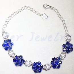 Wholesale Gemstone Loose Beads Sapphire - Sapphire chain bracelet Free shipping Real and natural blue sapphire Fine gems 0.2ct*35pcs gems Flower style