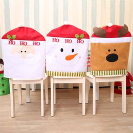 Wholesale Party Supplies Chair Covers - Christmas Chair Covers 3 colors Christmas Hat for Dinner Decor Home Decorations Ornaments Supplies Dinner Table Party Decor IB654