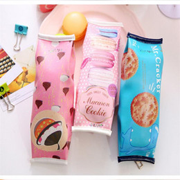 Wholesale Office Case - Wholesale-Kawaii Pencil Bag Students Creative Macaron  Nut  Biscuit Style Pencil Cases Stationery Material Escolar Office Supplies OP2023
