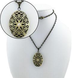 Wholesale Gold Oval Locket Necklace - BOYUTE 5 piece Bulk Sale 70CM Chain 25*38MM Pendant Oval Locket Necklace Vintage Jewelry DIY Jewelry Accessories