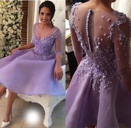 Wholesale Three Quarter Sleeve Organza - 2017 Lavender Short Prom Dress with Buttons Three Quarter Sleeves Organza Party Vestido de Noche Vestidos gala dresses