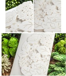 Wholesale Chinese Christmas Crafts - 2016 Newest Chinese White beach Elegant Hollow Wedding Invitations Cards Craft Supplies Bridal Invitations