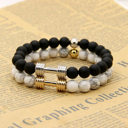 Wholesale platinum rings sale - Hot Sale 1PCS Real Gold&Platinum Plated Metal New Barbell & 8mm Stone Beads Fitness Fashion Dumbbell Bracelets
